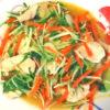 水菜と鶏胸のにんにく炒め