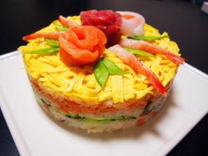 楽天レシピのススメ:ひな祭りはやっぱり可愛く♪☆ちらし寿司のケーキ☆