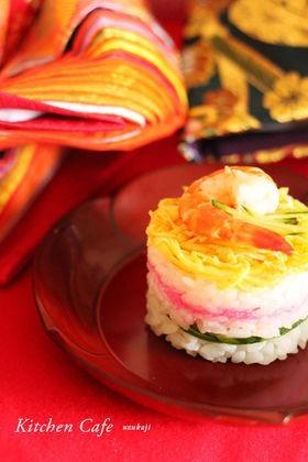 楽天レシピのススメ:ひな祭りに♪ちらし寿司のミルフィーユ