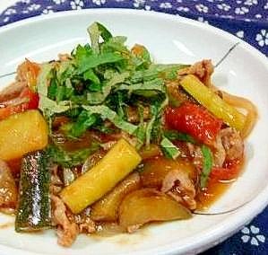 ズッキーニ・ナスのトマトしょうゆ炒め:楽天レシピのススメ