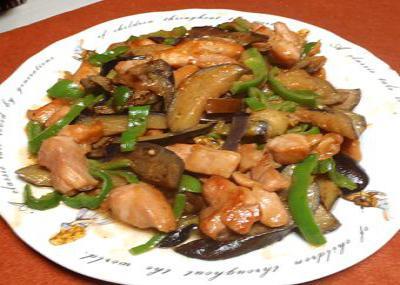 鶏肉となすの甘味噌炒め