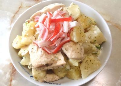 鶏胸とポテトのホットサラダ