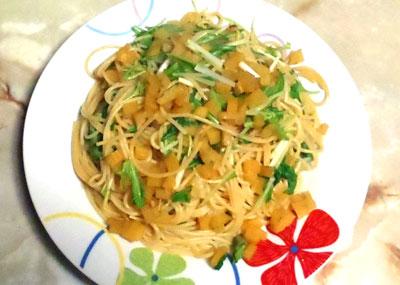たくあんと水菜の和風パスタ