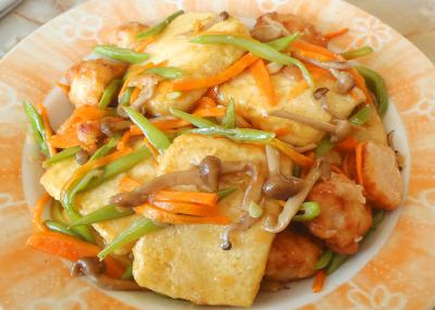 焼き豆腐の野菜炒め