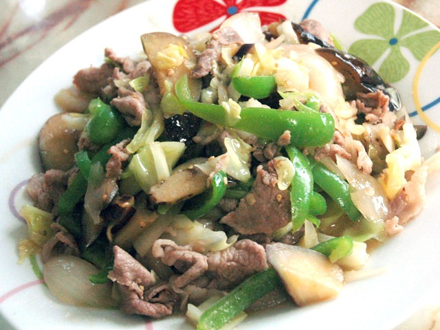 豚コマと野菜のポン酢炒め