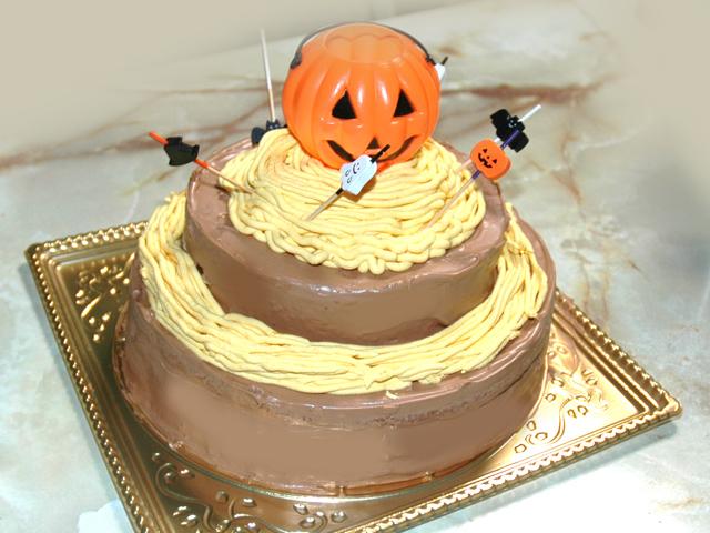 ハロウィンに!チョコと南瓜の豪華な二段ケーキ♪