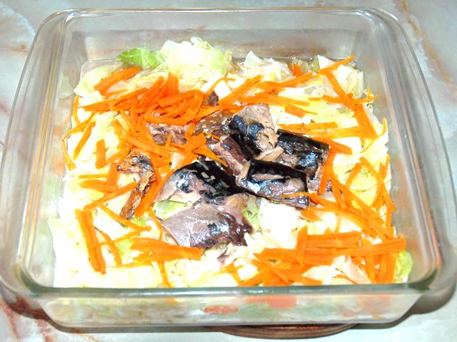 鯖水煮缶アレンジ!たっぷりキャベツと鯖のレンジ蒸し