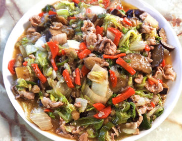 豚こまと余りもの野菜で!肉野菜のオイマヨあんかけ♪